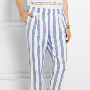 J Crew Striped Linen Tapered Pants